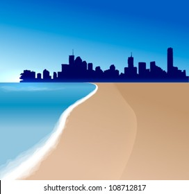 Brisbane vector illustration  with beach and sea