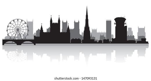 Bristol city skyline silhouette vector illustration