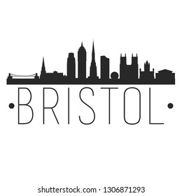 Bristol England. City Skyline. Silhouette City. Design Vector. Famous Monuments.