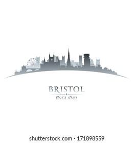 Bristol England city skyline silhouette. Vector illustration