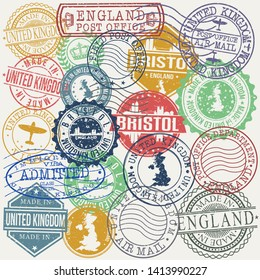Bristol England Set of Stamps. Travel Stamp. Made In Product. Design Seals Old Style Insignia.