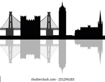 Bristol, England skyline. Detailed vector silhouette