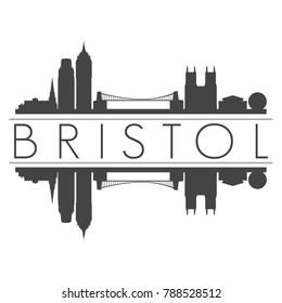 Bristol England United Kingdom Skyline Vector Art Mirror Silhouette Emblematic Buildings