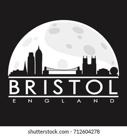 Bristol Full Moon Night Skyline Silhouette Design City Vector Art