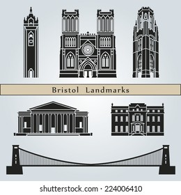 Bristol landmarks and monuments isolated on blue background in editable vector file