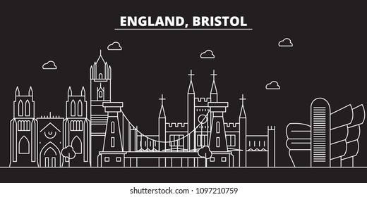Bristol silhouette skyline. Great Britain - Bristol vector city, british linear architecture, buildings. Bristol travel illustration, outline landmarks. Great Britain flat icons, british line banner