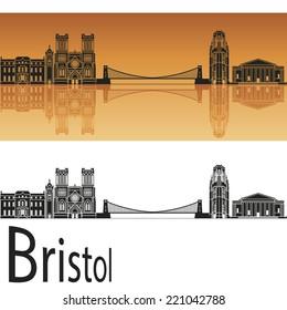 Bristol skyline in orange background in editable vector file