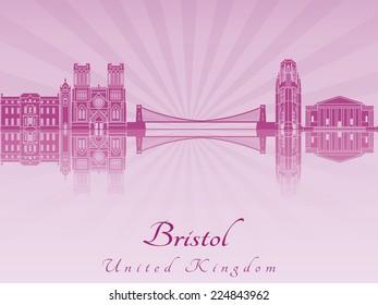 Bristol skyline in purple radiant orchid in editable vector file
