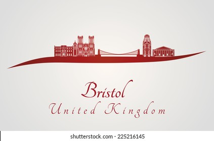 Bristol skyline in red and gray background in editable vector file