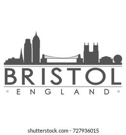 Bristol Skyline Silhouette Design City Vector Art