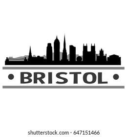 Bristol Skyline Silhouette Skyline Stamp Vector City Design