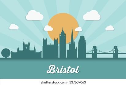 Bristol skyline - vector illustration