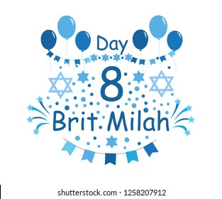 Brit Milah Jewish tradition, holiday. Judaism. Greeting cards for a boy. vector illustration