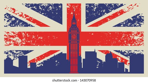 Britain flag and Big Ben in London