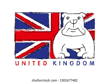 Britain flag and English bulldog linear minimal vector illustration and typography design