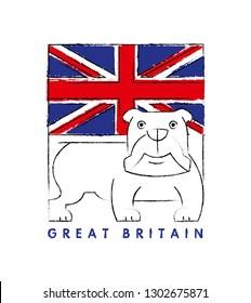 Britain flag. English bulldog. Symbols vector illustration and typography design