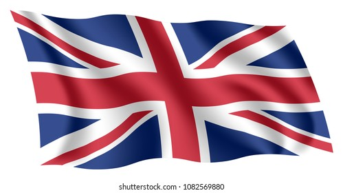 Britain flag. Isolated national flag of United Kingdom (UK). Waving flag of the United Kingdom of Great Britain and Northern Ireland. Fluttering textile british flag. Union Jack.