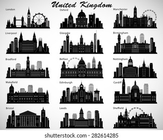 Britain's cities skylines set. Vector silhouettes. United Kingdom of Great Britain and Northern Ireland