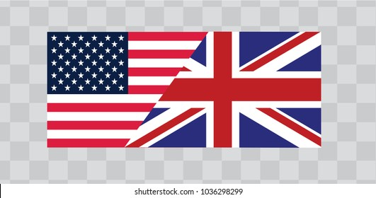 British  and American flags, high resolution