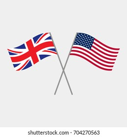 British and American flags, vector illustration