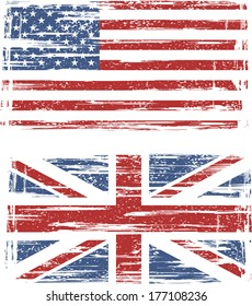 British and American grunge flags. Vector illustration