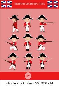 British army cute cartoon set vector illustration, British soldier at 1700s.