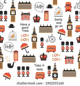 british background with big ben and red bus  for print, wallpaper, textile, fabric