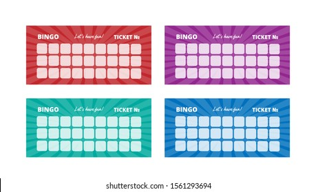 British bingo tickets with various glowing backgrounds. Vector lottery card templates with place for numbers. Ready for print