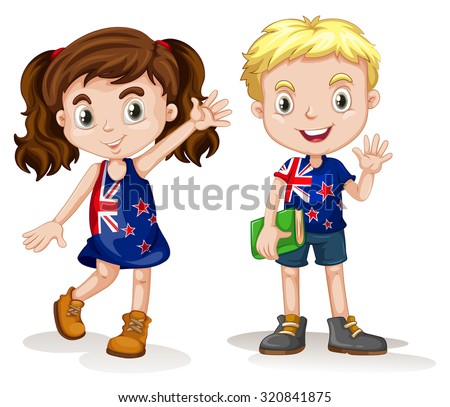 British boy girl greeting illustration stock vector royalty free british boy and girl greeting illustration m4hsunfo