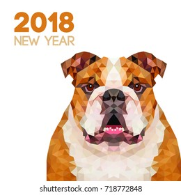 English Bulldog 10x15 FT Photo Backdrops,Polygonal Bulldog Design with Geometric Triangles Abstract Animal Drawing Background for Child Baby Shower Photo Vinyl Studio Prop Photobooth Photoshoot