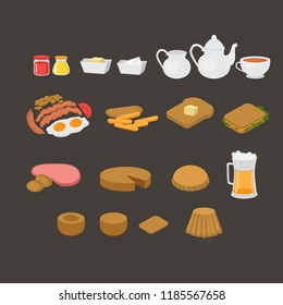 British cafe menu elements set. English breakfast, lunch and dinner. Sausage, egg, becon and beans. Meat and sandwich. Fish and chips, pastry and pudding. London tea vector illustration.