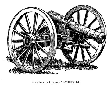 British Cannon captured at Yorktown during the Revolutionary War, vintage line drawing or engraving illustration.