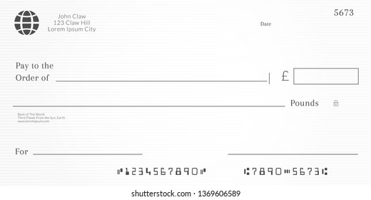 British checkbook page. Bank check template with pound currency. Blank Cheque.