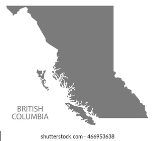 British Columbia Canada Map in grey