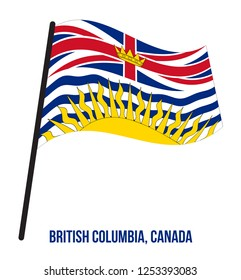 British Columbia Flag Waving Vector Illustration on White Background. Provinces Flag of Canada. Correct Size, Proportion and Colors.