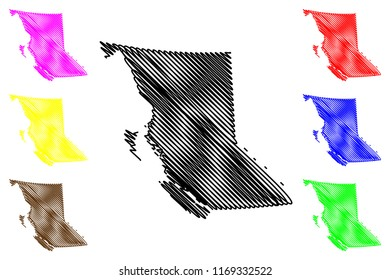 British Columbia (provinces and territories of Canada, BC) map vector illustration, scribble sketch British Columbia map