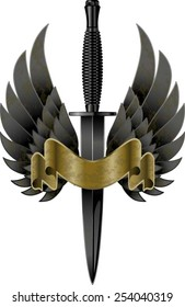 British commando knife with wings and banner