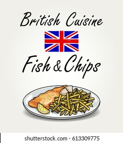 British Cuisine - Vector Fish and Chips on Plate