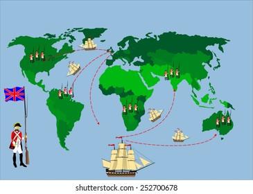 British empire map illustration