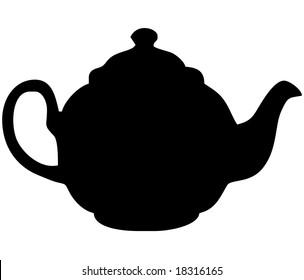 British English black teapot - isolated vector illustration