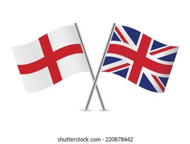 British and English flags. Vector illustration.