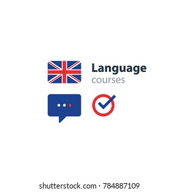 British english language class concept icon set and flag logo, language exchange program, forum and international communication sign. Flat design vector illustration