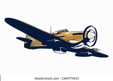 British fighter plane in WWII vector illustration
