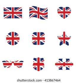 British flag icon set . Vector illustration