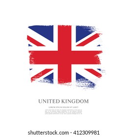 British flag made in brush stroke background. Vector Illustration