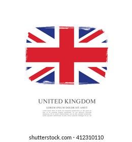 British flag made in brush stroke background. Vector Illustration