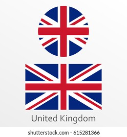 British flag set. United Kingdom and Great Britain national symbol. Vector illustration.