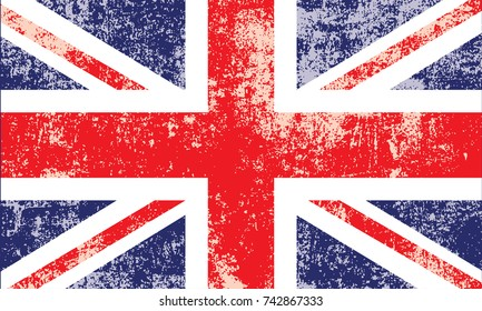 British flag vector. Grunge, worn, scratched style.