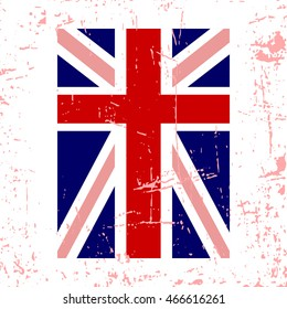 British flag vertical. Grunge old style. Blue, red and white national design, isolated on white background. Symbol of England, Britain, United Kingdom. Fashion template typography. Vector illustration