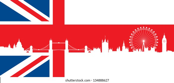 British flag  with very detailed  silhouette London skyline composition. London Monuments.